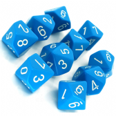 Light Blue & White Opaque D10 Ten Sided Dice Set